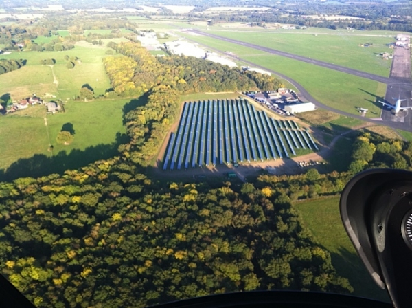 Dunsfold Park's 2MW array as seen from the air via Friends of the Earth