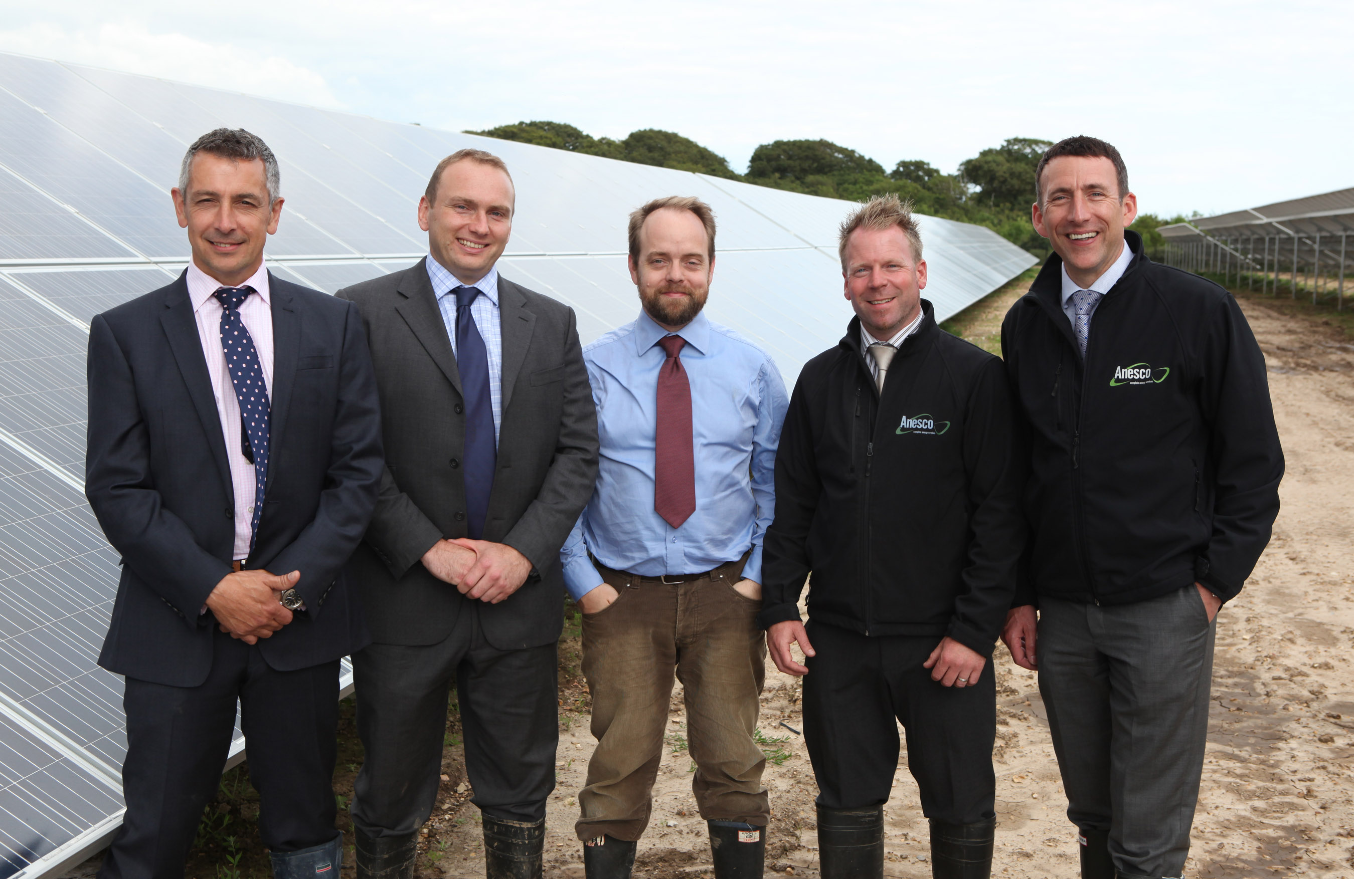 The Cadland Estate solar farm team l-r Steve Helliwell Benn Teasdale and Peter Verso from JPCS and Scott Hofgartner and Adrian Pike from Anesco